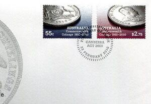 Coin stamp first day cover