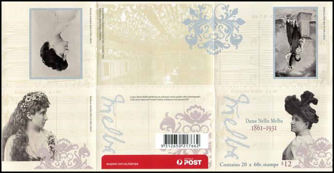 Dame Nellie Melba booklet (philatelic barcode)